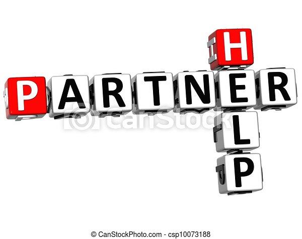 3D Help Partner Crossword - csp10073188