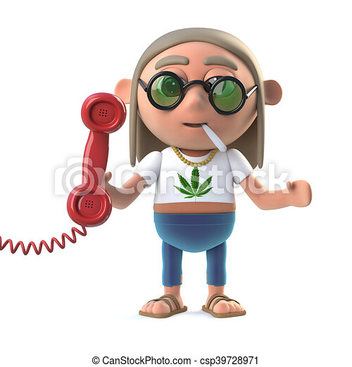 3d Hippie stoner answers the phone - csp39728971