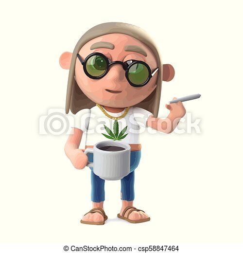 3d Hippie stoner has a coffee and a smoke - csp58847464