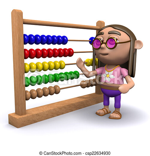 3d Hippy with an abacus - csp22634930