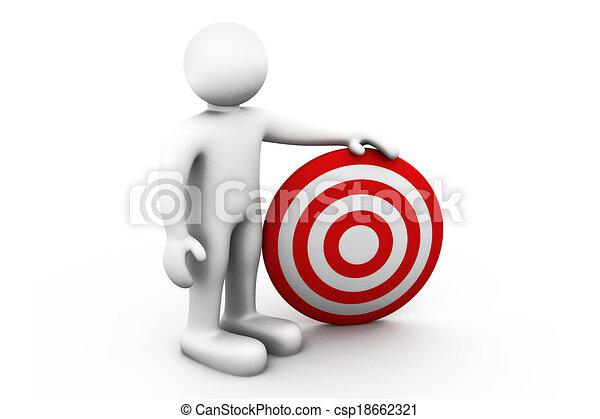 Hombre 3D con un objetivo - csp18662321