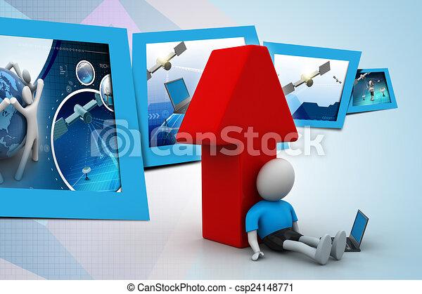Hombre 3D con portátil - csp24148771