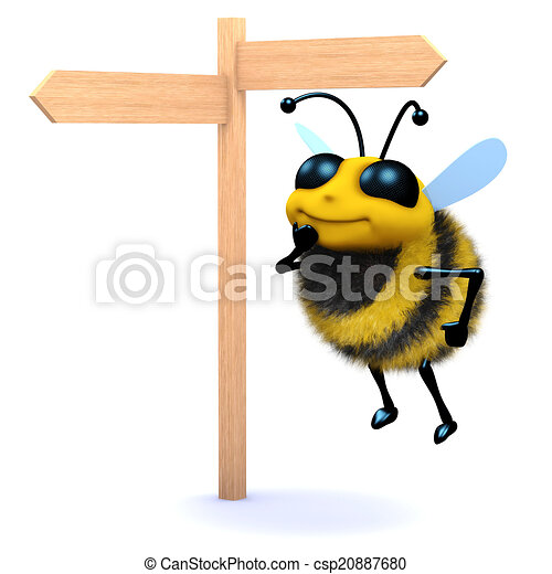 3d Honey bee looks at the roadsign - csp20887680
