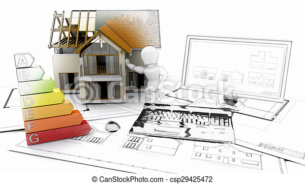 3D house and computer with plans - some in sketch phase - csp29425472