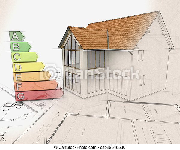 3D house and energy ratings with half in sketch phase - csp29548530
