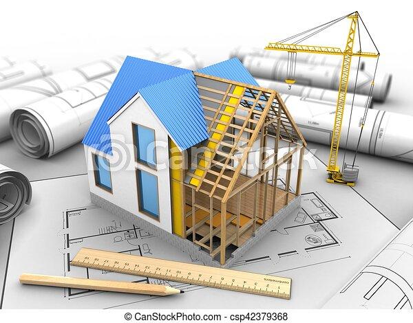 3d house construction 3d illustration of house construction over 3d house construction csp42379368 ccuart Images