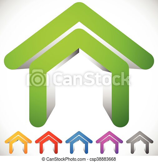 3D house icon in six colors. Home, suburban house, residential building icon / logo - csp38883668
