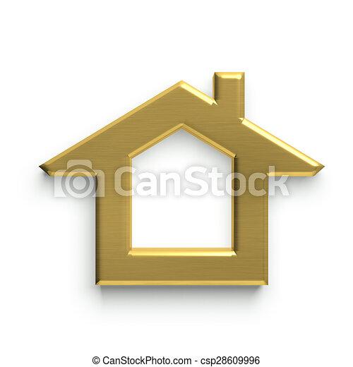 3D House Logo. Golden - csp28609996