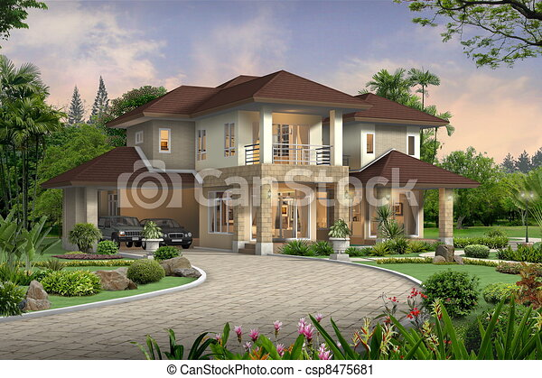 3d house perspective - csp8475681