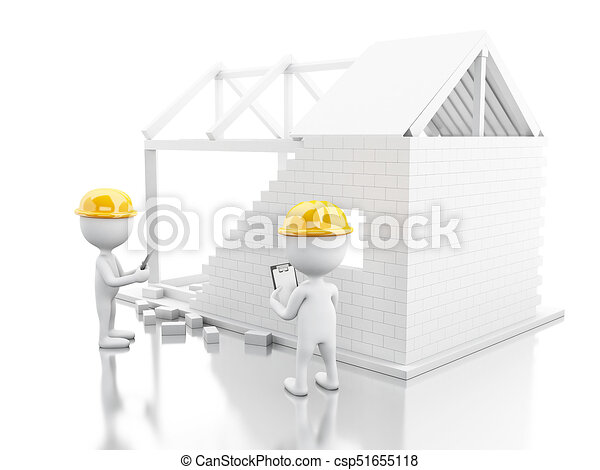 3d House under construction with builders - csp51655118