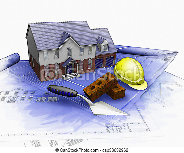 3D house under construction with partial watercolor effect - csp33632962