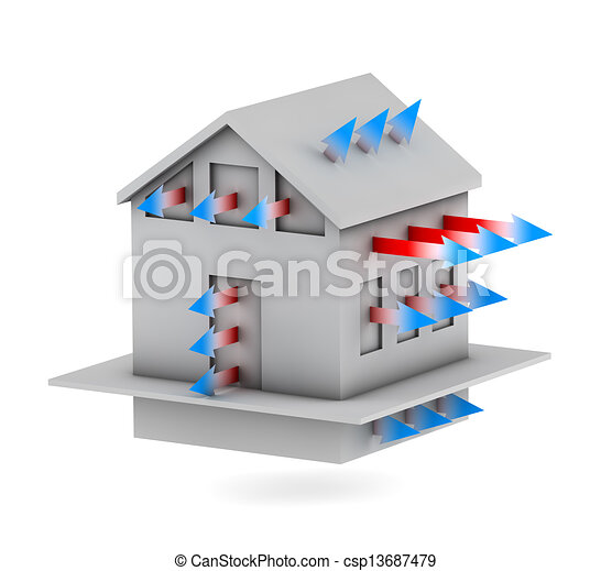 3d house with arrows of heat loss  - csp13687479