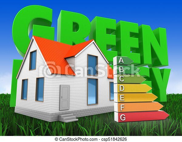 3d house with energy - csp51842626