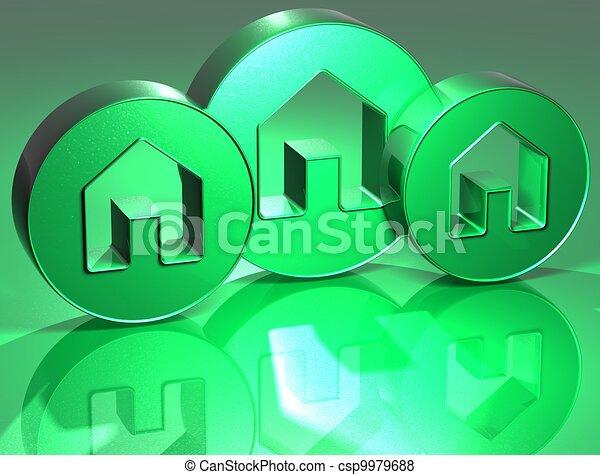 3D Houses Green Sign - csp9979688