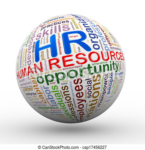 3d HR human resources wordcloud tags ball - csp17456227