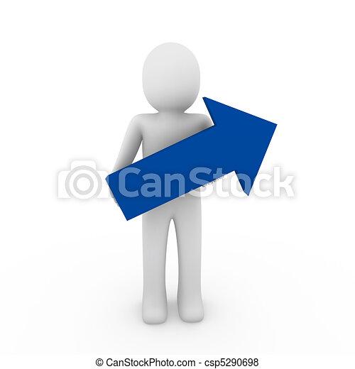 3d human arrow success blue high business - csp5290698