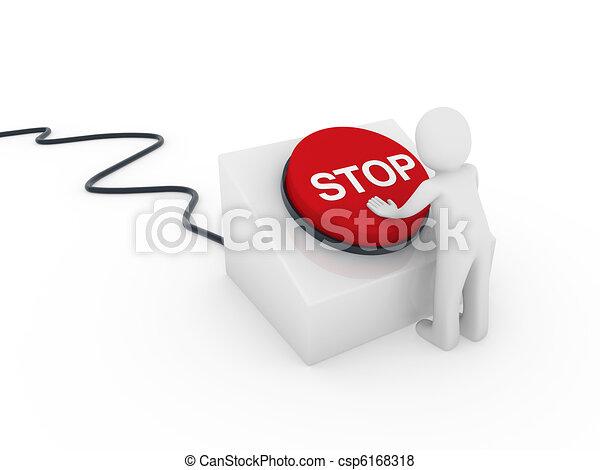 3d human button stop - csp6168318