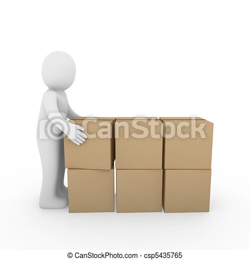 3d human carton package shipping - csp5435765