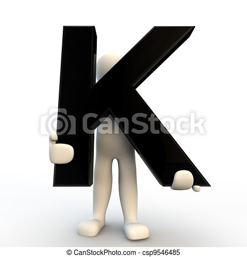 3d Human Character Holding Black Letter K Small People