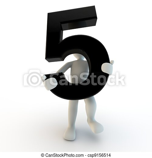 3D Human character holding black number 5, small people - csp9156514