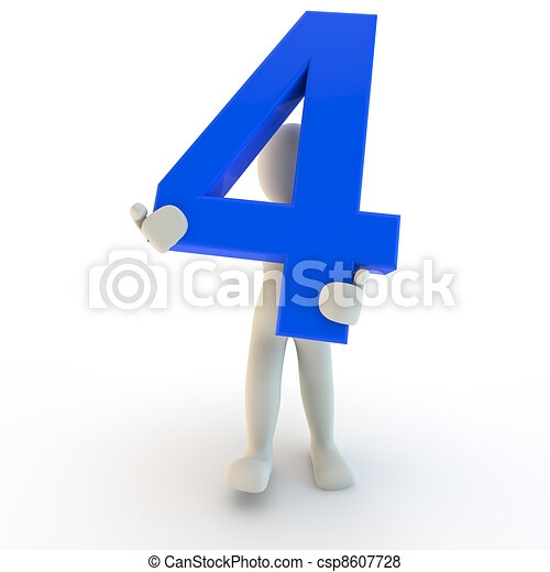 3D Human character holding blue number four - csp8607728