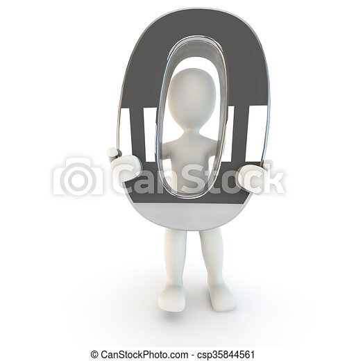 3D Human character holding silver number zero - csp35844561