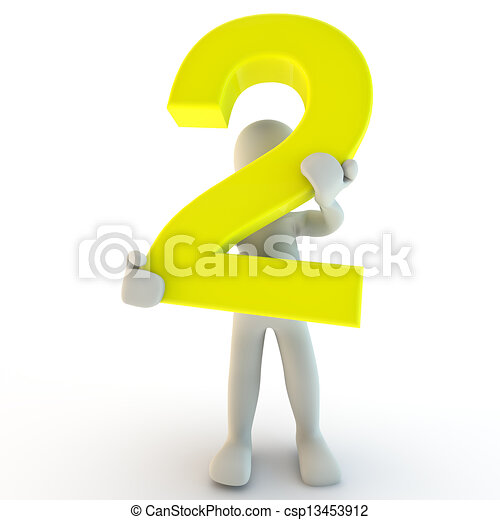 3D Human character holding yellow number two, small people - csp13453912
