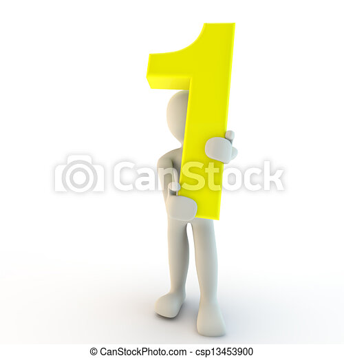3D Human character holding yellow number one, small people - csp13453900