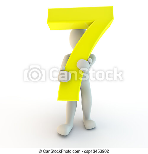 3D Human character holding yellow number seven, small people - csp13453902