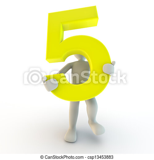3D Human character holding yellow number five, small people - csp13453883