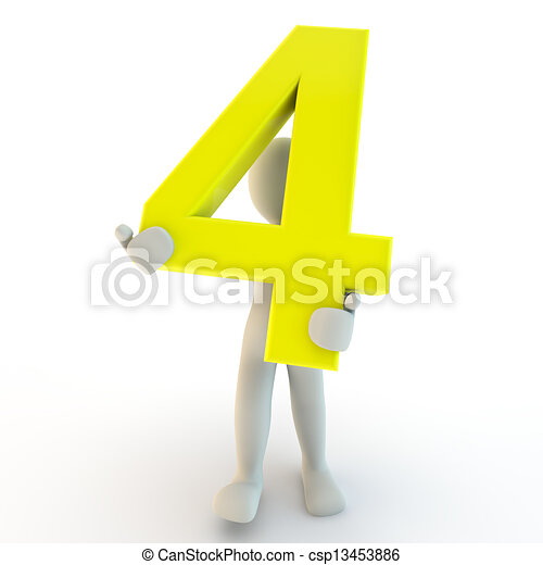 3D Human character holding yellow number four, small people - csp13453886