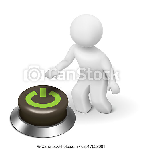 "3d human character, person and a button with ""Power"" - csp17652001"