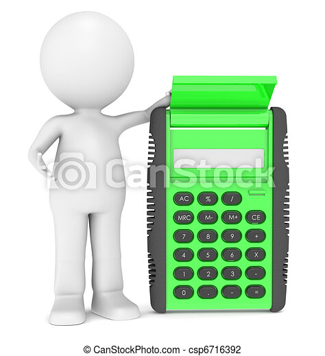 3d human character with a Calculator - csp6716392