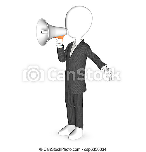 3d human character with a white megaphone - csp6350834