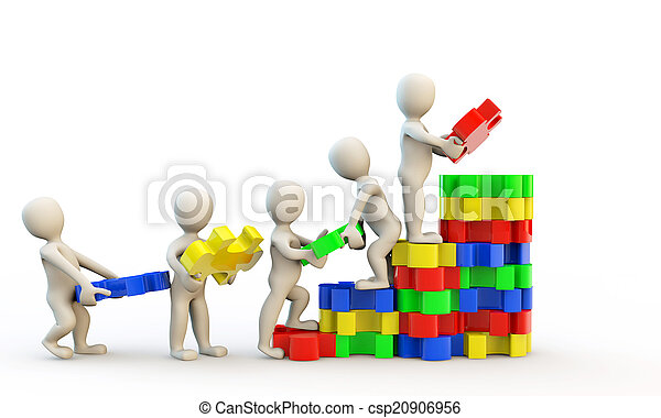 3D human characters holding puzzles - csp20906956