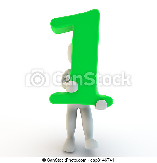 3D Human charcter holding green number one - csp8146741