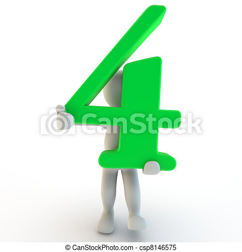 3D Human charcter holding green number four - csp8146575