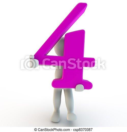 3D Human charcter holding pink number 4 - csp8370387