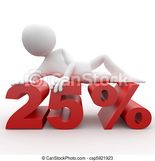 3d human lying in 25 percent - csp5921923