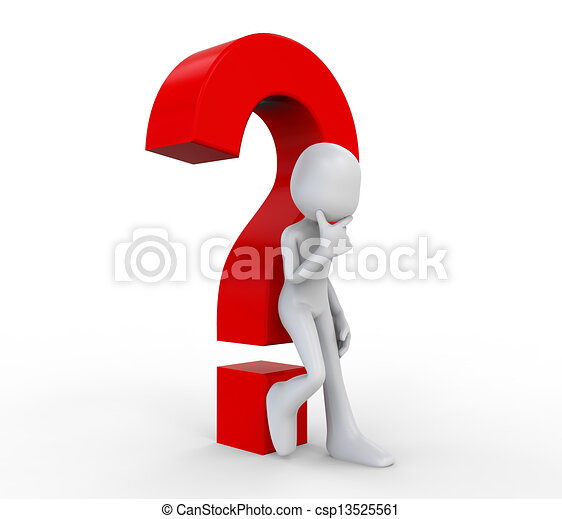 3D Human with a Question Mark - csp13525561