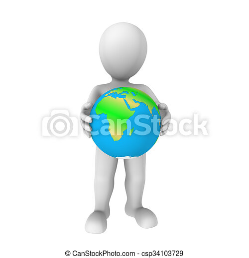3d human with Earth - csp34103729