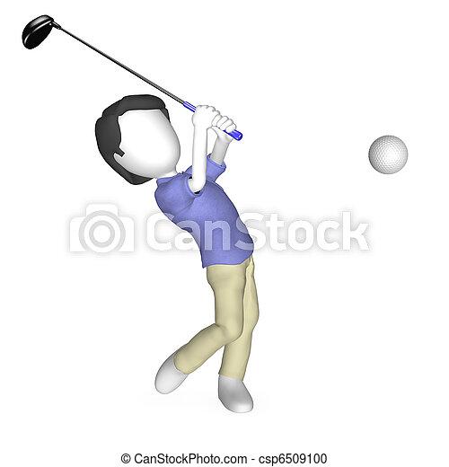 Tres humanos jugando al golf - csp6509100