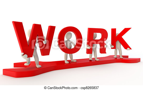 3d humans forming red work word standing on big wrench 3d render