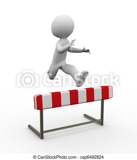 3d Hurdle Jump Man Jumping Over The