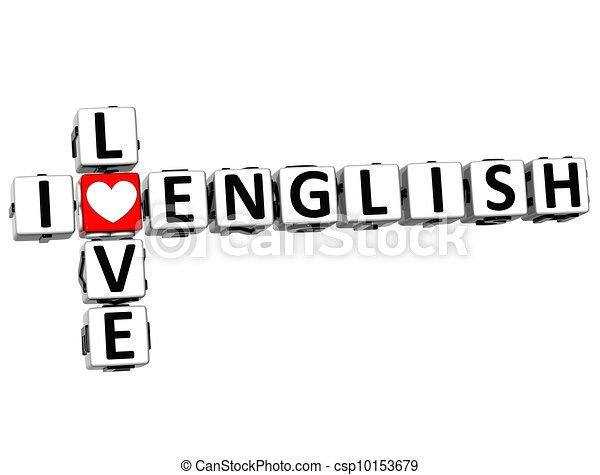 3D I Love English Crossword