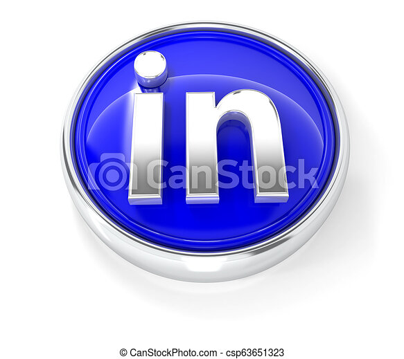 3D icon on glossy blue round button - csp63651323