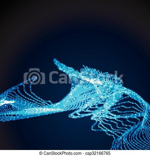 3D illuminated abstract digital wave - csp32166765