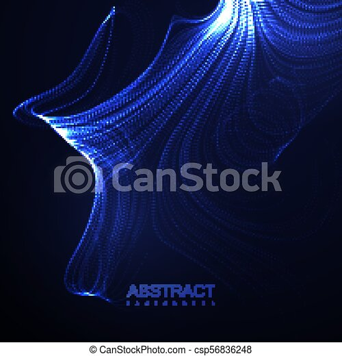 3D illuminated abstract digital wave of glowing particles. - csp56836248