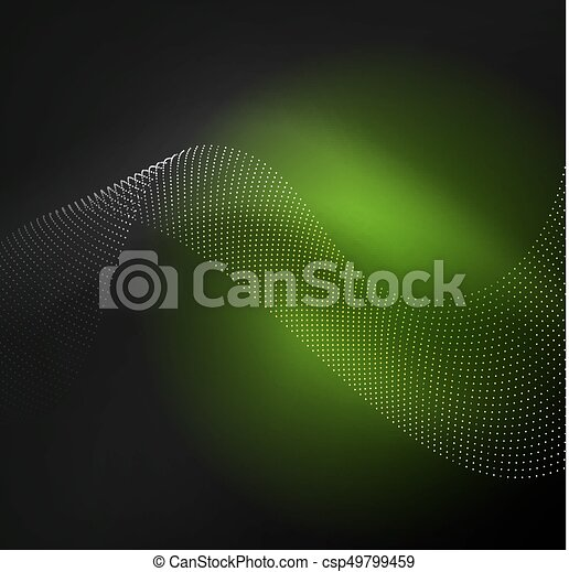 3D illuminated wave of glowing particles - csp49799459