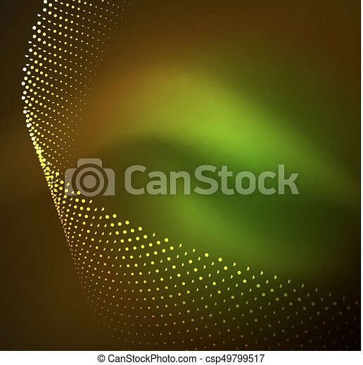 3D illuminated wave of glowing particles - csp49799517
